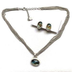 Anne Klein Vintage Pendant & Clip Earrings Set